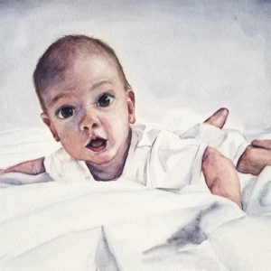 """""""Babe on White"""" is a watercolor portrait on aquabord of a baby wearing white and laying on white sheets by artist Esther BeLer Wodrich"""