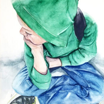 """Waiting for the Plane"" is watercolor figurative portrait painting on aquabord of a young boy in a green hoodie seated by artist Esther BeLer Wodrich"