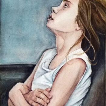 """Whatever"" is a watercolor portrait painting on aquabord of a teen with attitude and eye roll by artist Esther BeLer Wodrich"