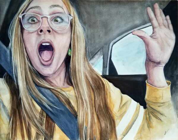 """Drama"" is a watercolor figurative work on Aquabord of a teen by artist Esther BeLer Wodrich"