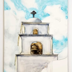 """The Bell Tower - Church at Litchfield Park"" is a watercolor, pen and ink painting on Claybord by artist Esther BeLer Wodrich"