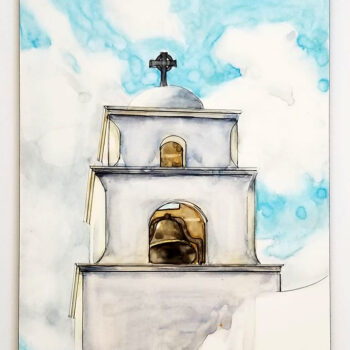 """""""The Bell Tower - Church at Litchfield Park"""" is a watercolor, pen and ink painting on Claybord by artist Esther BeLer Wodrich"""