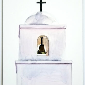 """The Bell Tower - King of Kings Church"" is a watercolor painting on claybord of King of Kings Church in Goodyear, Arizona by artist Esther BeLer Wodrich"