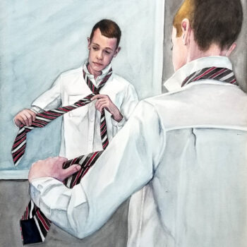 """Promotion"" is a watercolor on aquabord of a teen boy learning to tie for his promotion ceremony by artist Esther BeLer Wodrich"