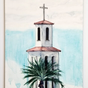 """The Bell Tower - St Thomas Aquinas Church"" is a watercolor, pen and ink on clayboard of the St Thomas Aquinas catholic church and school in Avondale, Arizona by artist Esther BeLer Wodrich"