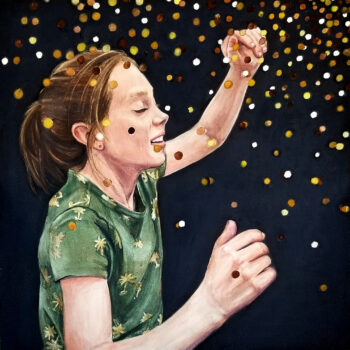 """Scattered"" is a watercolor portrait on aquabord of a young girl with symbolic meaning related to her hearing loss by artist Esther BeLer Wodrich"