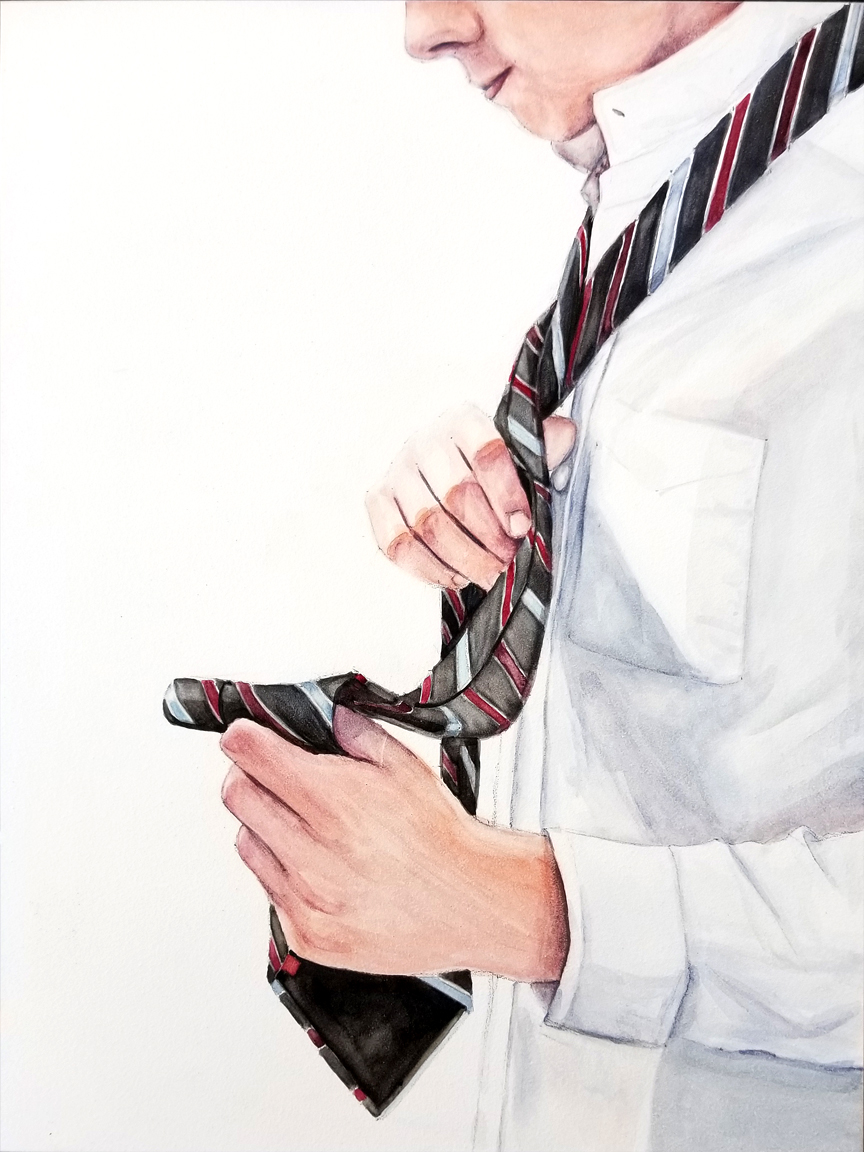 """Earning Stripes"" to is a figurative watercolor painting on Aquabord of a youth / teen learning to tye a tie by artist Esther BeLer Wodrich"