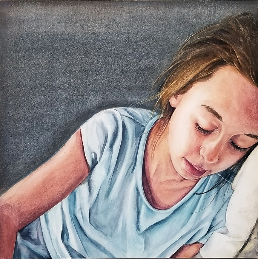 """Isolated"" is a figurative watercolor portrait painting on aquabord of a sad young girl by artist Esther BeLer Wodrich. Part of the M I S U N D E R S T O O D series."