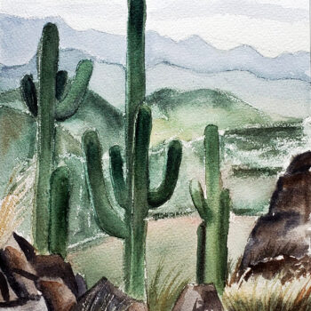 Day 11 of 2020 World Watercolor Month is a painting of saguaros with mountains in the distance by artist Esther BeLer Wodrich