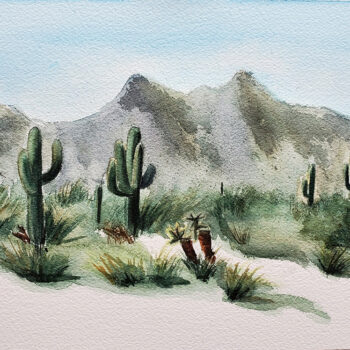Day 12 of 2020 World Watercolor Month is a painting of desert landscape by artist Esther BeLer Wodrich