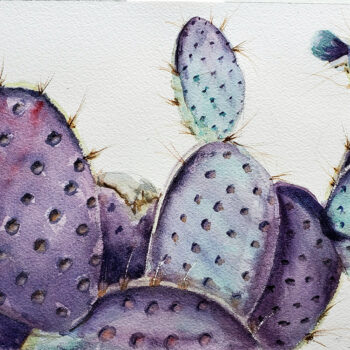 Day 13, 2020 World Watercolor Month painting of purple prickly pear by artist Esther BeLer Wodrich