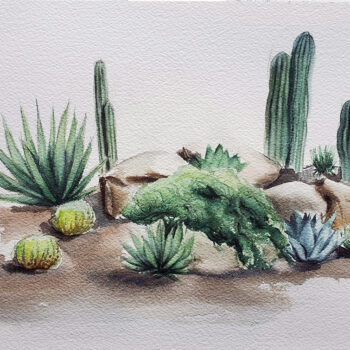 Day 17 2020 World Watercolor Month painting of a group of desert plants by artist Esther BeLer Wodrich