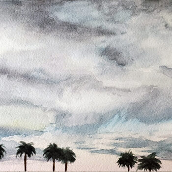 Day 20, 2020 World Watercolor Month painting of desert sky with palms by artist Esther BeLer Wodrich