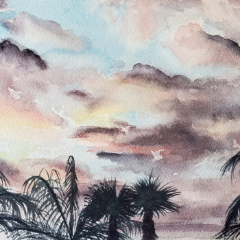 Day 21, 2020 World Watercolor Month painting of palm trees at sunset by artist Esther BeLer Wodrich
