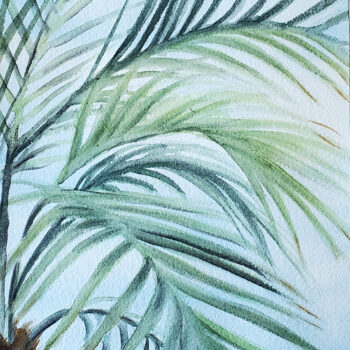 Day 22, 2020 World Watercolor Month painting of palms with blue background (version 1) by artist Esther BeLer Wodrich
