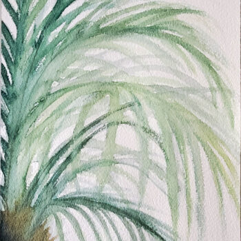 Day 22, 2020 World Watercolor Month painting of palms (version 2) by artist Esther BeLer Wodrich