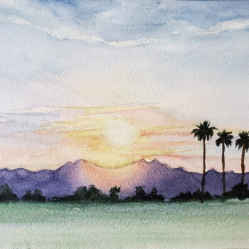 Day 24, 2020 World Watercolor Month painting a colorful sunset by artist Esther BeLer Wodrich