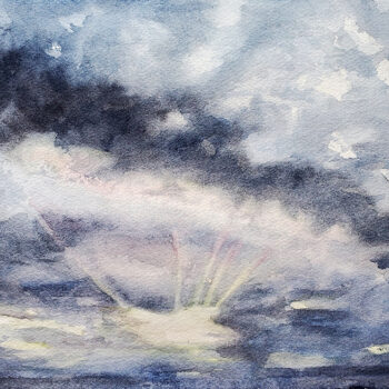 Day 27, 2020 World Watercolor Month is a cloud study painting by artist Esther BeLer Wodrich