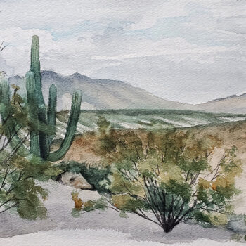 Day 28, 2020 World Watercolor Month is a painting of a desert landscape with saguaro by artist Esther BeLer Wodrich