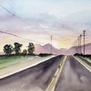 Day 29, 2020 World Watercolor Month is a painting of a road winding into the horizon at a mountain framed by sunset artist Esther BeLer Wodrich