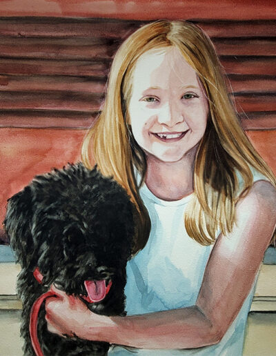 Addison & Dash is a custom watercolor portrait of a young with her dog.